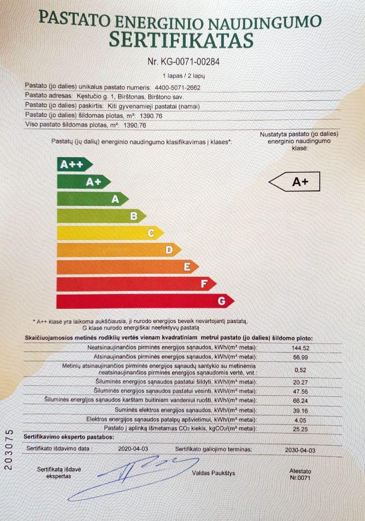 A plius sertifikatas